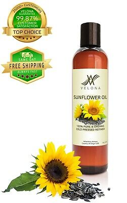 Sunflower Oil 8 oz REFINED NATURAL CARRIER Cold Pressed PURE VELONA Cooking Oils & Serving Oils