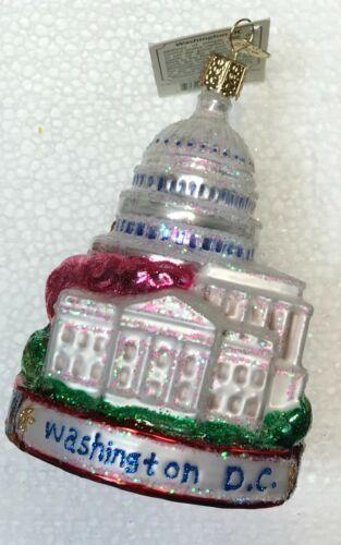 Old World Christmas WASHINGTON DC LANDMARKS WHITE HOUSE MONUMENT Ornament + BOX