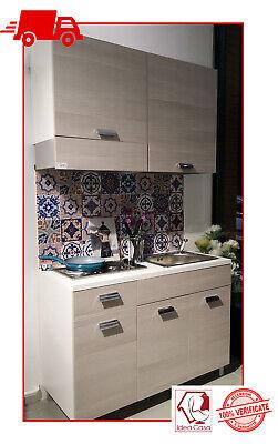 Mini Cucina Monoblocco 120 cm completa di Piano cottura lavello e cappa / OLMO