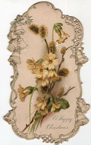 """c1890 Delicate Die cut Embossed """"A Happy Christmas"""" Card Yellow Flowers Bells"""