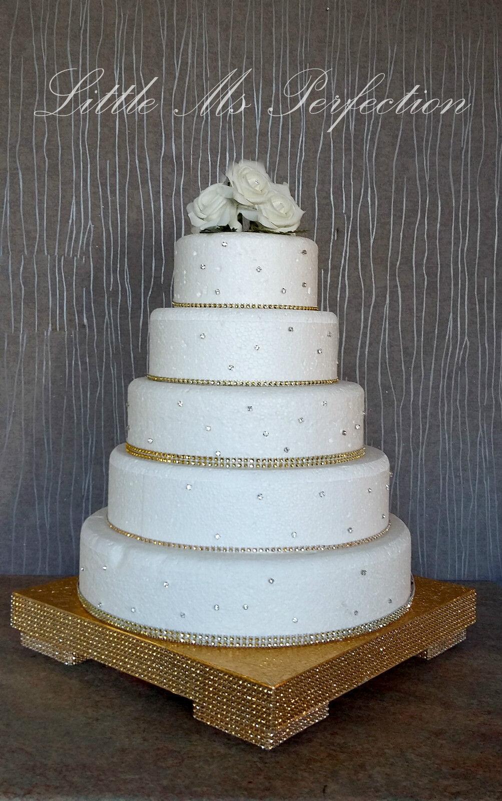Gold Silver Diamante Crystal Wedding Cake Stand Round