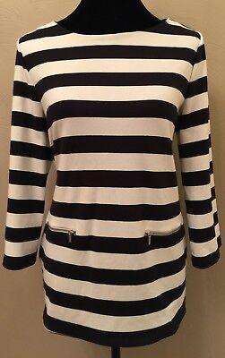 Tommy Hilfiger Womens Pullover Top Medium White Black Stripe Crew Neck Pockets