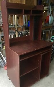 Mahogany color vintage cd rack/computer table.