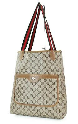 Authentic Vintage GUCCI Brown GG PVC Canvas and Leather Tote Bag Purse #37813