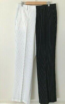 Jaded London Black & White Smart Pinstripe Trousers 34R UK 6-8 Loose Fit (NEW)