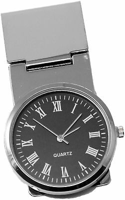 Round Black Watch Stainless Steel Hinged Money - Hinged Clip Watch