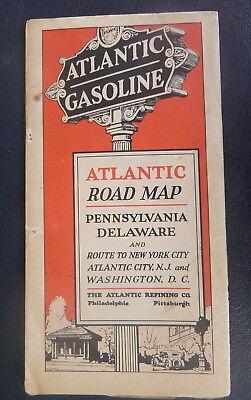 1920's Pennsylvania Delaware road mapr Atlantic  oil gas Atlantic City N.J. D.C.