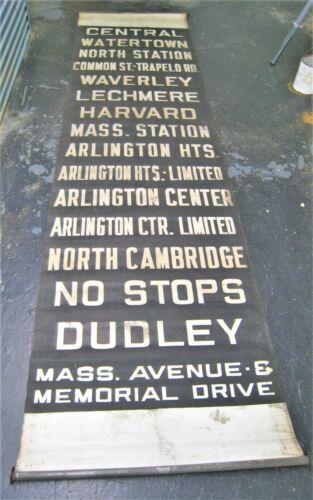 Vintage Boston Trackless Trolley Bus or Streetcar Destination Roll Sign Harvard