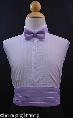 (Infant Toddler Boy LILAC Cummerbund Cumberband + Bow tie Set Tuxedo Suit Sz S-28)