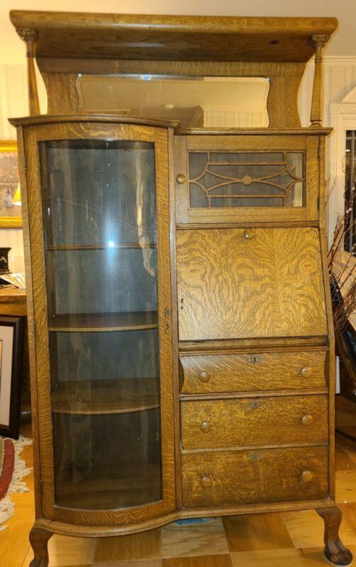 Antique Oak Side by Side Secretary Larkin Desk Bookshelf Combo Mirror Beautiful