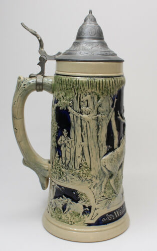 """Weidmannsheil! Good Hunting! Vintage Beer Stein With Lid Made In Germany 11"""""""