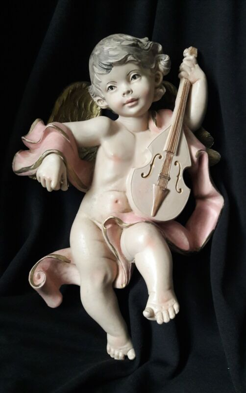 """Vtg LARGE 12"""" Heavy ROCOCCO CHERUB ANGEL PUTTI w/Violin WALL Decor▪ ITALY"""