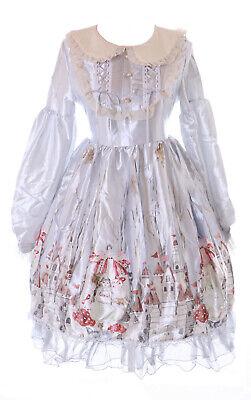 JSK-75-2 Gris Satén Bosque Seta Cuento Cierre Vestido Pastel Goth Lolita Cosplay