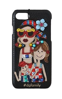 NEW $550 DOLCE & GABBANA Phone Case Black Leather DGFamily Print Crystal iPhone7