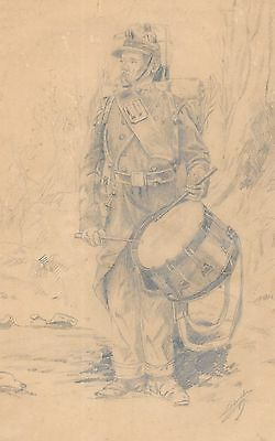 Excellent Antique 19thC Pencil Graphite Drawing of Drummer Soldier