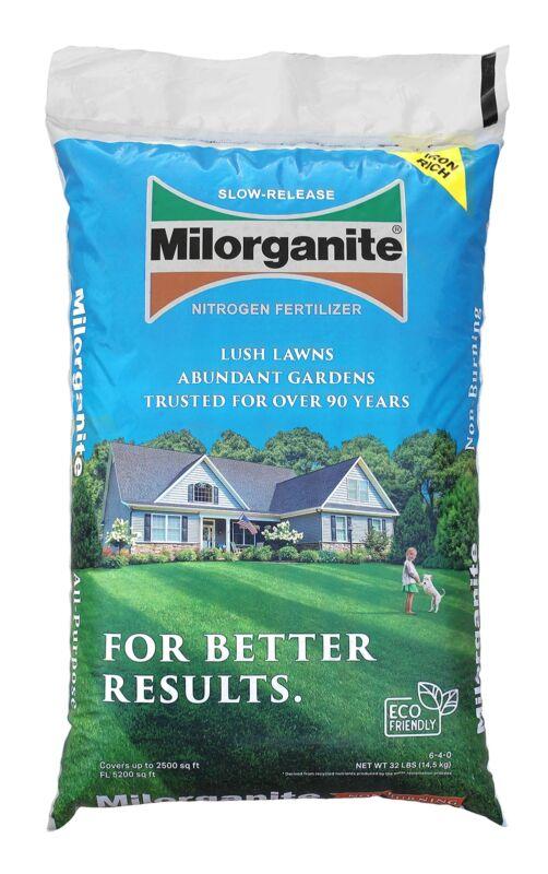 Milorganite Slow Release Nitrogen Lawn Fertilizer, 32 Pounds