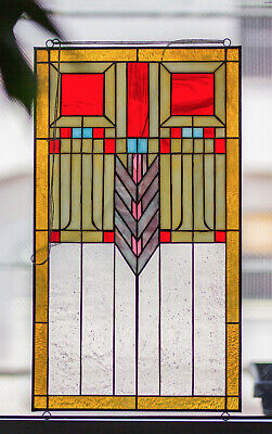 Tiffany Style Stained Glass Window Panel RV Frank Lloyd Wright Inspired Prairie ()