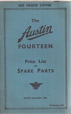 AUSTIN 14 FOURTEEN SALOON ORIGINAL 1938 FACTORY SPARE PARTS PRICE LIST