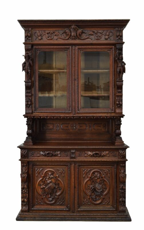 Antique French Hunt Renaissance Buffet Cabinet With Figures