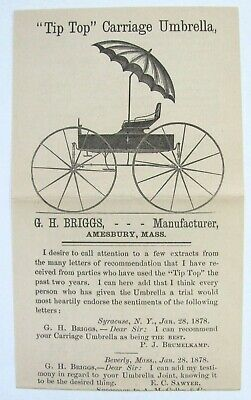 Vintage Advertising Paper: TIP TOP CARRIAGE UMBRELLAS - Amesbury, Mass