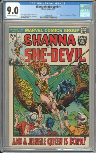 SHANNA THE SHE-DEVIL 1 CGC 9.0! 1ST APP SHANNA. OFF-WHITE TO WHITE PAGES