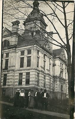 People Standing In Front Of A Beaux Arts Court House~RPPC 1913