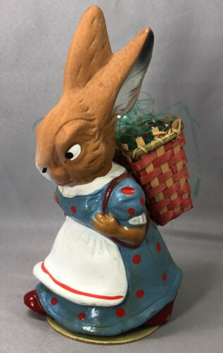 c1950 EASTER BUNNY Polk Dot Dress Rabbit CANDY CONTAINER US Zone GERMANY Vintage