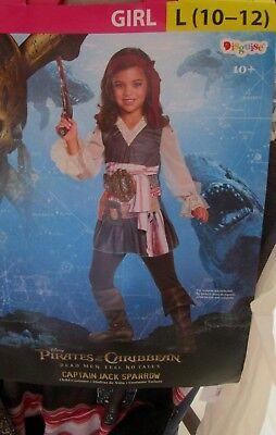 Pirates of Caribbean CAPTAIN JACK SPARROW Girls COSTUME L 10-12 NEW Child - Jack Sparrow Girl Costume