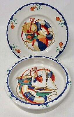 Authentic Tiffany & Co. Childs Plate and Bowl Seashore Beach Theme