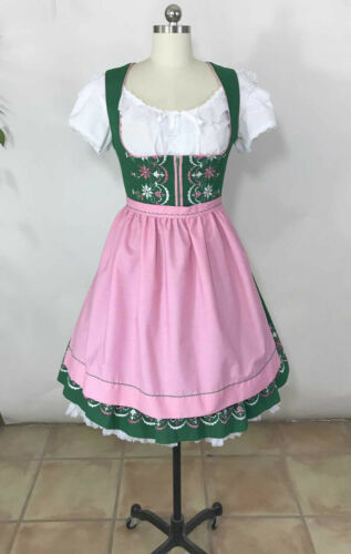 Vtg 60s Handmade German Dirndl Oktoberfest Dress Green Cotton w/Pink Apron sz 8