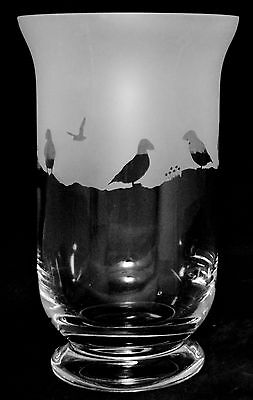 *PUFFIN GIFT*  BOXED CRYSTAL GLASS VASE with PUFFIN FRIEZE design (5070)