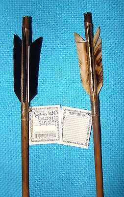 2 Handmade Navajo Indian  Arrows w/different feathers & Stone chipped Arrowheads