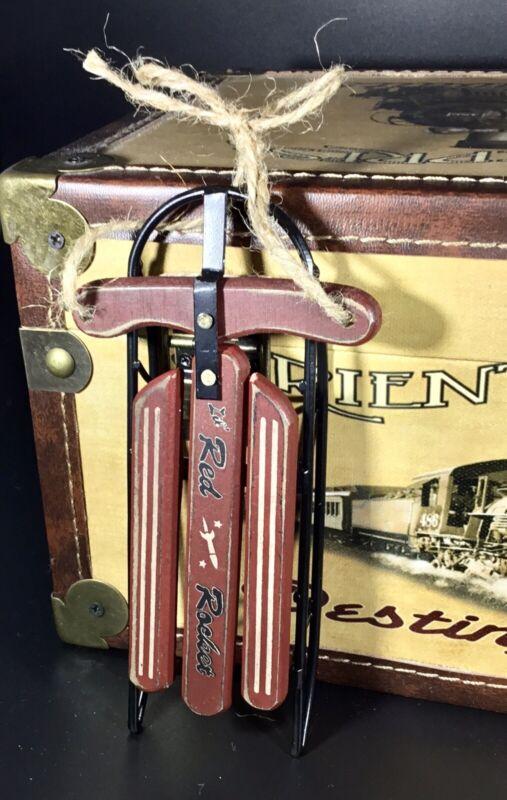 "Vintage Red Wood And Metal Red Rocket Sled Toboggan Ornament 6"" Long"