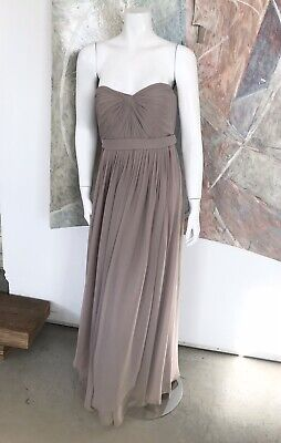 Jenny Yoo Collection Taupe Beige Long Maxi Strapless Gown Dress Size 6