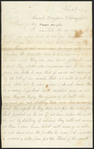 1862 Civil War Union Soldier's Letter – Edgar Warner, 126th NY (DoW)