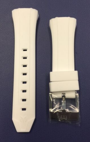 Authentic TechnoMarine White Silicone Silver Buckle for 40mm