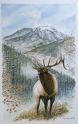 Aceo Miniature Painting Art Trading Card Elk Mountain St.Helens Wildlife Antler