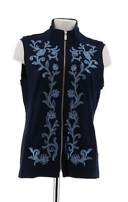 - Bob Mackie Floral Embroidered Zip Front Ponte Knit Vest Navy S NEW A286892