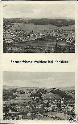 Welchau bei Karlsbad, Böhmen, Panorama, alte Ansichtskarte von 1944