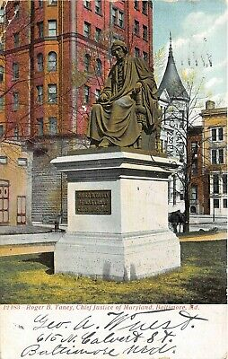 Baltimore Maryland 1908 Postcard Roger B. Taney Chief Justice Of Maryland Statue