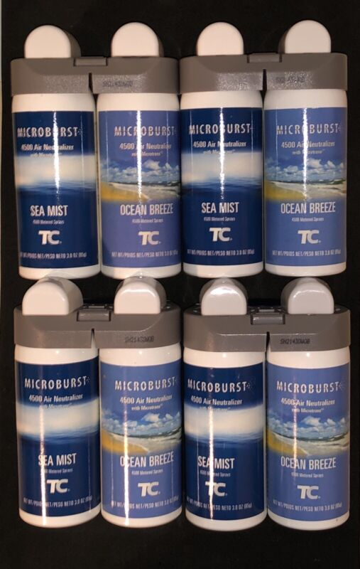 (8 Bottle) Rubbermaid 3485951 Microburst Duet SeaMist/Ocean Breeze Air Freshener