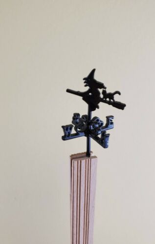 Dollhouse Miniature Witch Weathervane Small Metal 1:12 Scale