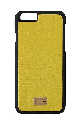 NEW $160 DOLCE & GABBANA Phone Case Lemon Yellow Leather Gold Logo Cover iPhone6