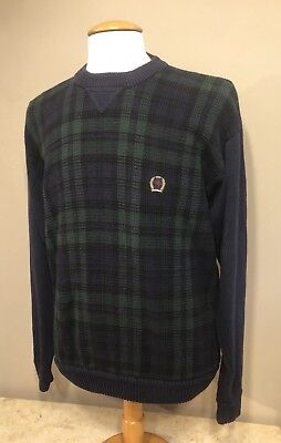 Tommy Hilfiger Mens Size XL Plaid Cable Knit Pullover Sweater Crewneck