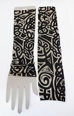 Tattoo Sleeves Set Of 2 Arm Stockings Black Beige Design Halloween Biker Costume ()
