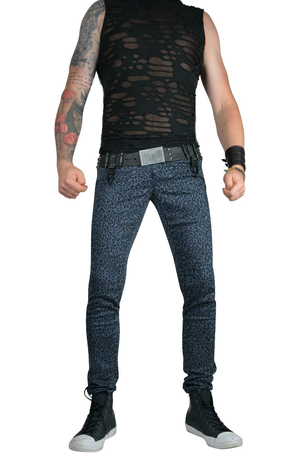 TRIPP GRAY CHEETAH EXPLOITED SKINNY JEANS ROCKER UNISEX FIT PUNK ROCK PANTS Clothing, Shoes & Accessories