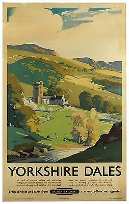 Vintage Railway Advertising  rail travel poster  A4 RE PRINT Yorkshire Dales