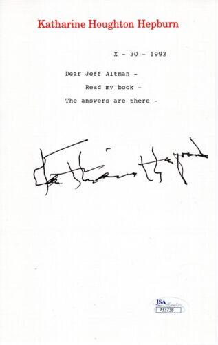 "KATHARINE HEPBURN HAND SIGNED LETTER ON LETTERHEAD      ""READ MY BOOK""      JSA"