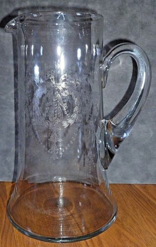 Rare Cambridge Elegant Glass Etched Wedgewood Tall Pitcher 408  * Circa 1920s *