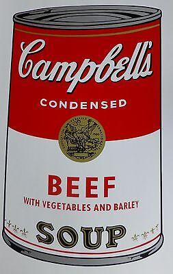 ANDY WARHOL CAMPBELLS' BEEF Soup Can SUNDAY B.MORNING Silkscreen Print COA